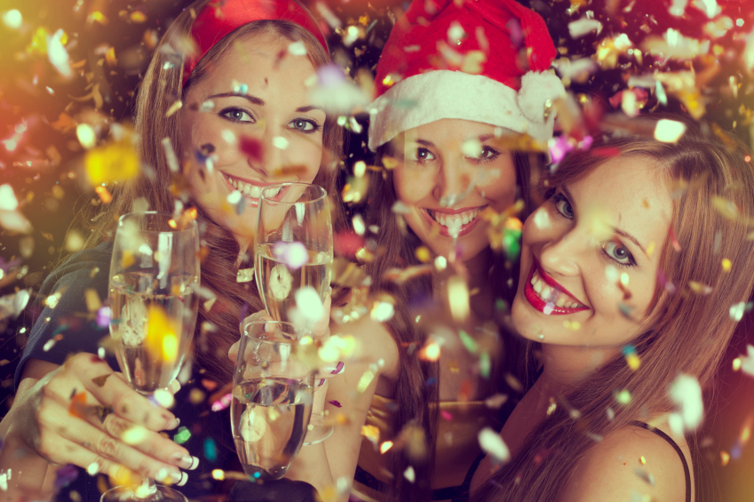 Three beautiful girls on the New Year's Eve