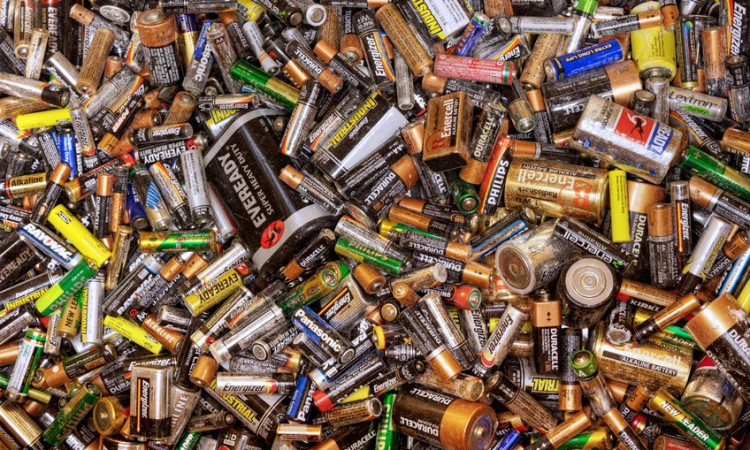 26061973 - many dead batteries gathered for recycling
