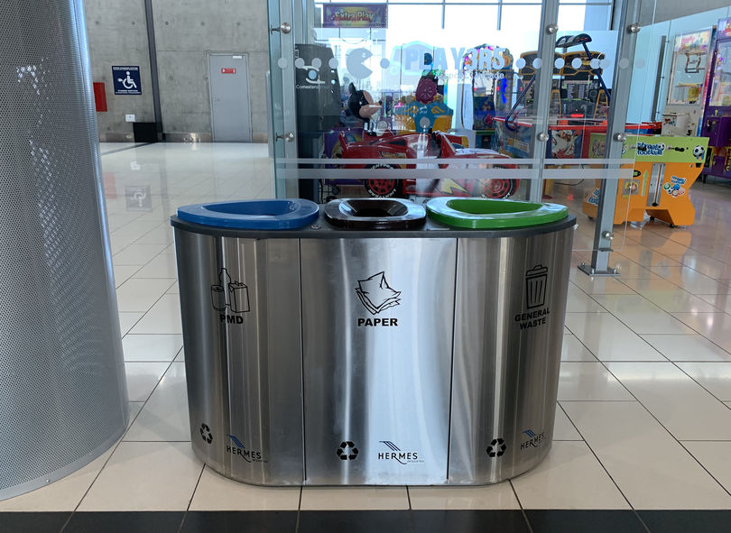 LARNAKA, CYPRUS - MAY 12, 2019: Separate waste collection at Larnaca  International Airport
