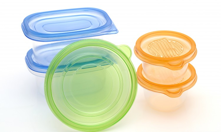 Stack of food plastic containers